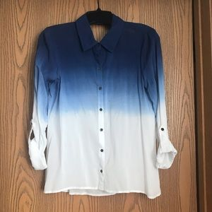 Tops - Blue and White Button Up Top